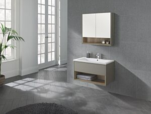 Lucca 800 Mirror Cabinet in Taupe Lily Bain