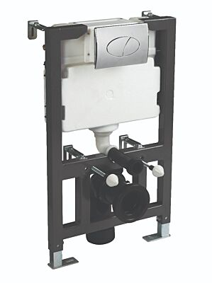1.17m Wall Hung Frame with concealed cistern. A Range of choices in ceramic pans and flush plates available.