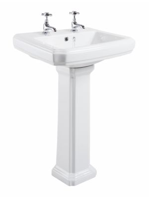 Cromford Traditional Basin & Pedestal (w/ Two Taps)