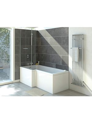 Solarna L Shape Shower Bath Bundle (1700mm x 700mm) Left Hand