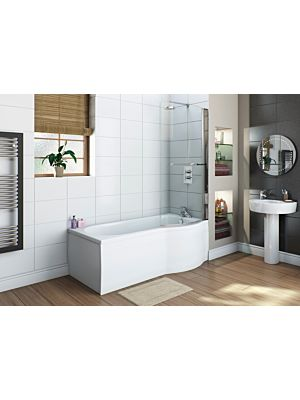 BTL Slim Fit P Shape Shower Bath 1675mm x 700mm Right Hand