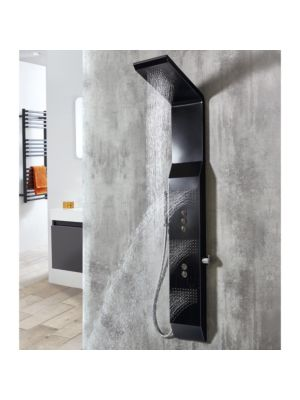Patos Square Stainless Steel Concealed Thermo Shower Column BLK