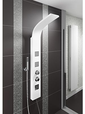 Luna White Thermostatic Shower Panel