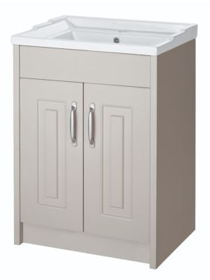York 600mm Floor Standing Unit & Basin - White