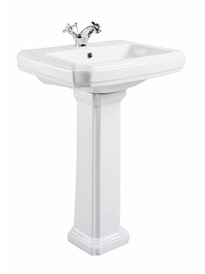 Cromford Traditional Basin & Pedestal (w/ Single Tap)