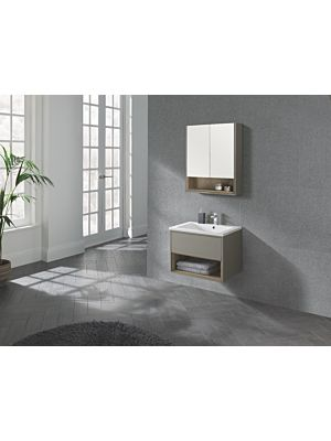 Lucca 600 Wall Hung Unit & Basin in Taupe