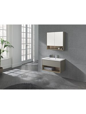 Lucca 800 Wall Hung Unit & Basin in Taupe