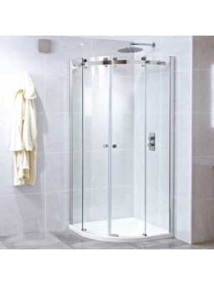 Motion 8mm Frameless Twin Quadrant Door 90 x 90